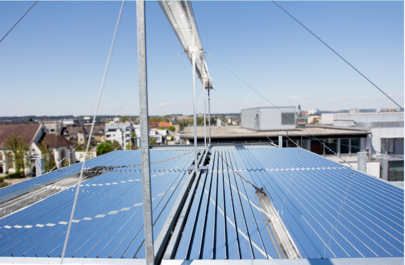 Fresnex 20m² concentrated solar thermal prototyp